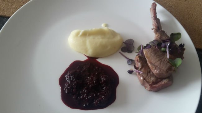 Jonah Reider's main course: Lamb chops with mulberry, pepper and manuka honey relish, parsnip puree and micro radish