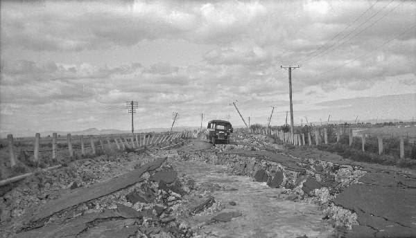 A damaged road after Hawke Bay Earthquake NZ