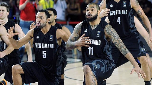 A New Zealand haka war dance ahead of a basketball game.